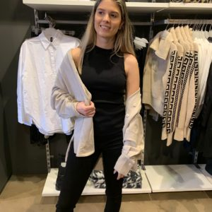 Mouwloze knit top black of offwhite van Shoeby Colmschate